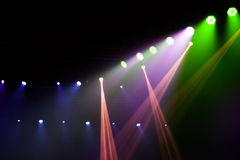 Stage lights on concert. Lighting equipment with multi-colored beams Royalty Free Stock Image