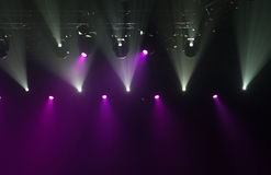 Stage lights on concert. Lighting equipment with multi-colored beams Stock Photography