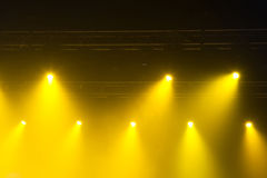 Stage lights on concert. Lighting equipment with multicolored beams Stock Photos
