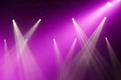 Stage lights on concert. Lighting equipment with multicolored beams Royalty Free Stock Photography