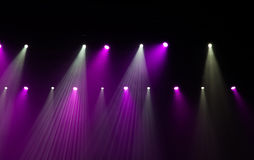 Stage lights on concert. Lighting equipment with multicolored beams Stock Photography