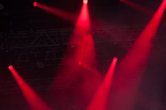 Stage lights on concert. Lighting equipment with multicolored beams Stock Images