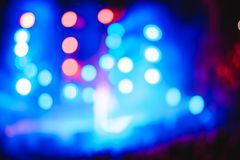 Searchlights at a concert. Stage lights on concert. Lighting equipment with multicolored beams Royalty Free Stock Photography