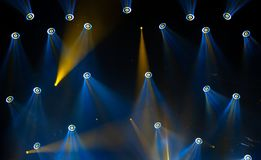 Stage lights on concert. Lighting equipment. With multi-colored beams Royalty Free Stock Photography