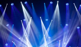 Stage lights on concert. Lighting equipment. With multi-colored beams Royalty Free Stock Photo