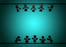 Stage lights 3d render. On color background Stock Photo
