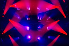 Colorful stage light background. Stage lights of different colors, background of glowing blue and red spotlights royalty free stock image
