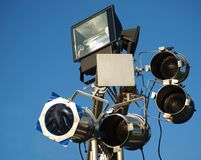 Stage Lights and Effects. Spotlights and filters in on a pole at an outdoor concert stock photography