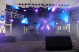 Stage with lights. Entertainment stage with lights and musical instruments stock photos