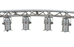 Stage lights isolated. Metal stage lamps on alluminium girder  isolated Royalty Free Stock Photos