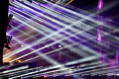 Stage lights at a live EDM concert Royalty Free Stock Images