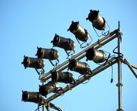 Stage Lights Mounted on a Rack Stock Photo