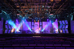 Stage with Lights and Musical Instruments Royalty Free Stock Photo