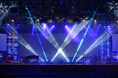 Stage Lights. With musical instruments ready for concert stock images