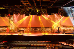 Stage With Lights and Piano Stock Photo