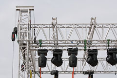 Stage lights rack Royalty Free Stock Images