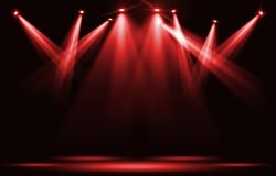 Stage lights. Red spotlight strike through the darkness. stock illustration