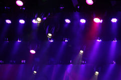 Stage lights and smoke. Colorful stage lights and smoke Royalty Free Stock Images