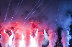 Stage lights and smoke on concert Royalty Free Stock Photos