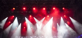 Stage lights and smoke on concert Royalty Free Stock Image