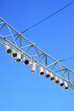 Stage lights on steel girder Stock Images