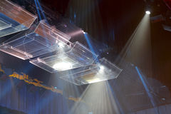 The stage lights. Theater stage with lots of stage lights or spotlights royalty free stock images