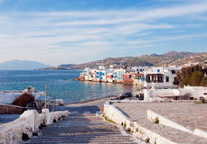 Stage in the Little  on Mykonos in clouds. Stock Photos