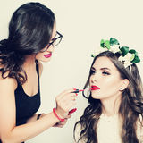 Stage Makeup. Make-up Artist and Beautiful Fashion Model Royalty Free Stock Image