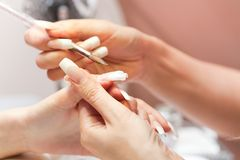 Stage of manicure: modeling of nail with acryl Royalty Free Stock Photo