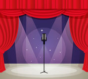Stage with microphone Royalty Free Stock Photo
