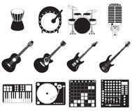 Stage music instruments set. Set of different stage music instruments Stock Image