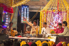 Stage with Musicians at a local street festical in Jodhpur Royalty Free Stock Images