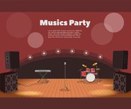 Stage and musics party banner.  illustration of stage with instruments and music party banner. Stage and musics party banner. illustration of stage with Royalty Free Stock Photo