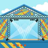 Stage for open air festival, music event or rock concert.. Empty stage for open air festival, music event or rock concert. Outdoor scene equipped with Stock Photography