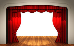 Stage with open curtain Stock Images