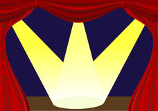 Stage with open curtain and lights Royalty Free Stock Images