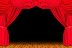 Stage with opened red curtain Royalty Free Stock Image