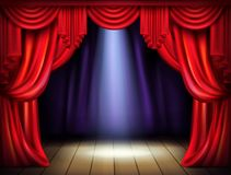 Stage with opened red curtains realistic vector royalty free illustration