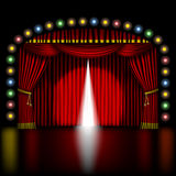 Stage with opening red curtain Royalty Free Stock Photos