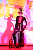 Stage performance of upscale restaurant the summer palace dancers dance show of the ensemble group style. Royalty Free Stock Images