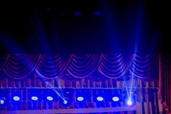 Spotlights, spotlights and effects from the stage. Empty, behind. royalty free stock images