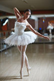 Stage performer. Ballet performer in white tutu dancing on stage Royalty Free Stock Photography
