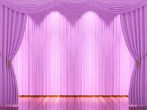 Stage with pink curtains and spotlight. Stock Image