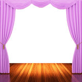 Stage with pink curtains and spotlight. Royalty Free Stock Photo