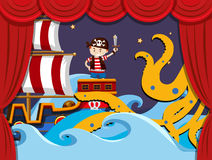 Stage play with pirate fighting kraken Royalty Free Stock Photos