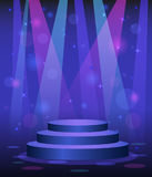 Stage podium disco nightclub dance floor. Spotlight light beams background Stock Image