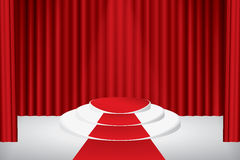 Stage podium. Illuminated stage podium, red curtain and red carpet. Vector illustration Stock Photo