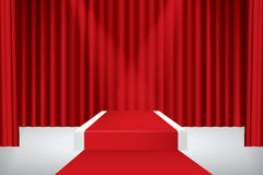 Stage podium. Illuminated stage podium, red curtain and red carpet. Vector illustration Royalty Free Stock Photo