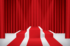 Stage podium. Illuminated stage podium, red curtain and red carpet. Vector illustration Stock Photos