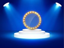 Stage podium with lighting, Stage Podium Scene with for Award Ceremony on blue Background, Vector illustration. Stage podium with lighting, Stage Podium Scene Royalty Free Stock Photos